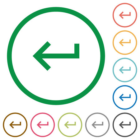 Keyboard return flat color icons in round outlines on white background Illustration