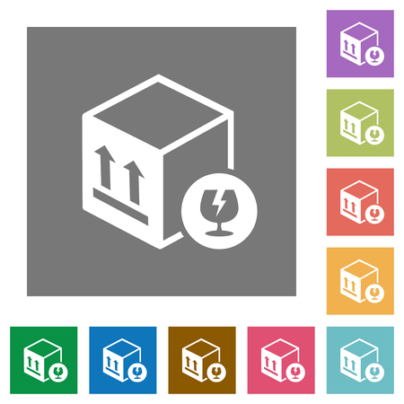 Fragile package flat icons on simple color square backgrounds Illustration