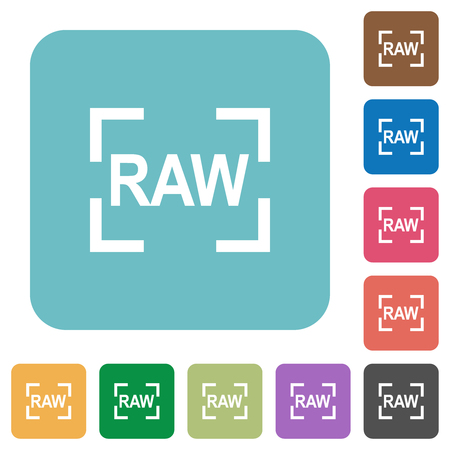 Camera raw image mode white flat icons on color rounded square backgrounds