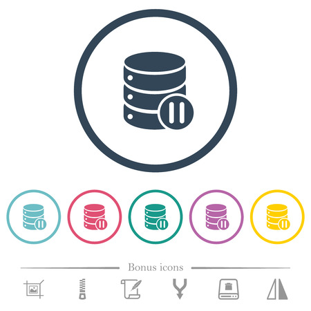 Database macro pause flat color icons in round outlines. 6 bonus icons included. Illustration