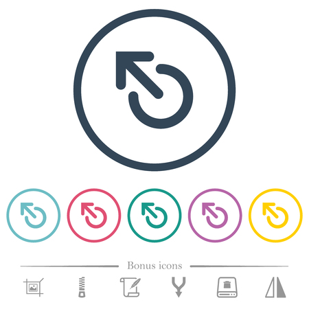 Media eject flat color icons in round outlines. 6 bonus icons included.
