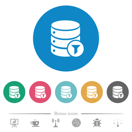 Database filter flat white icons on round color backgrounds. 6 bonus icons included. Illustration