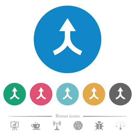 Merge arrows up flat white icons on round color backgrounds. 6 bonus icons included. Stock Illustratie