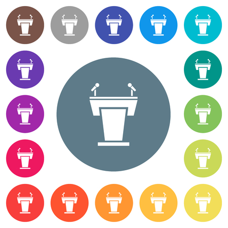 Conference podium with microphones flat white icons on round color backgrounds. 17 background color variations are included. Ilustrace