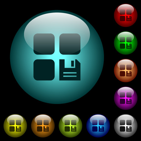 Save component icons in color illuminated spherical glass buttons on black background. Can be used to black or dark templates