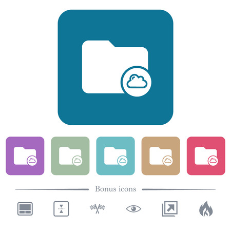 Cloud directory white flat icons on color rounded square backgrounds. 6 bonus icons included