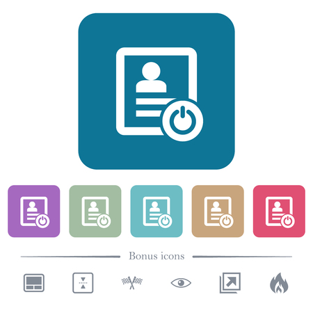Exit from contact list white flat icons on color rounded square backgrounds. 6 bonus icons included Illustration