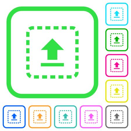 Drag to upload vivid colored flat icons in curved borders on white background Vektoros illusztráció