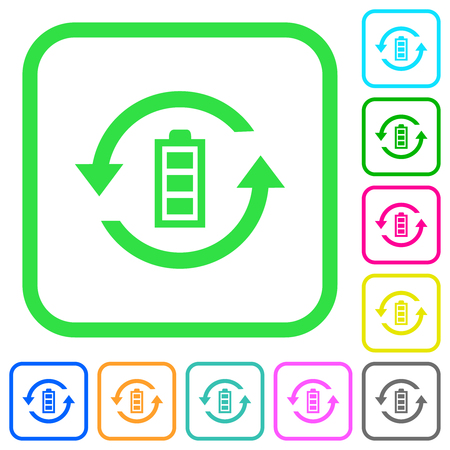 Renewable energy vivid colored flat icons in curved borders on white background