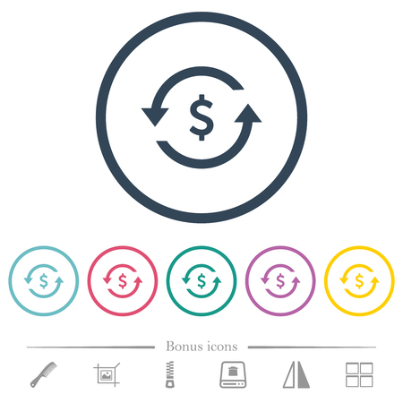 Dollar pay back flat color icons in round outlines. 6 bonus icons included.