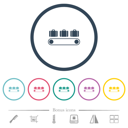 Luggage conveyor flat color icons in round outlines. 6 bonus icons included. 일러스트