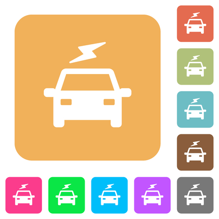 Electric car with flash flat icons on rounded square vivid color backgrounds.