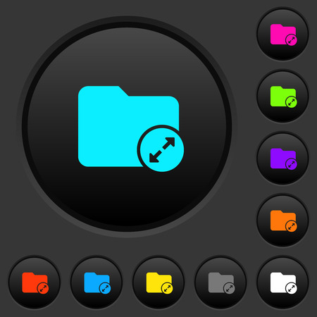 Uncompress directory dark push buttons with vivid color icons on dark grey background Illustration