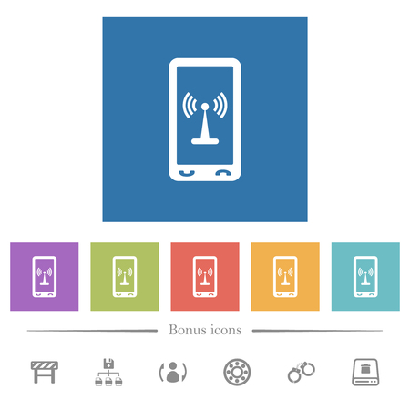 Mobile hotspot flat white icons in square backgrounds. 6 bonus icons included.