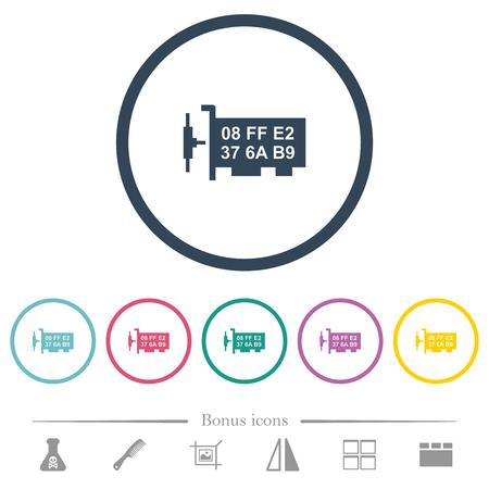 Network mac address flat color icons in round outlines. 6 bonus icons included. Ilustração Vetorial