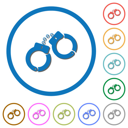 Handcuffs flat color vector icons with shadows in round outlines on white background