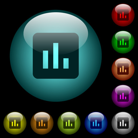 Chart icons in color illuminated spherical glass buttons on black background. Can be used to black or dark templates 일러스트