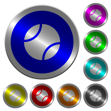 Tennis ball icons on round luminous coin-like color steel buttons