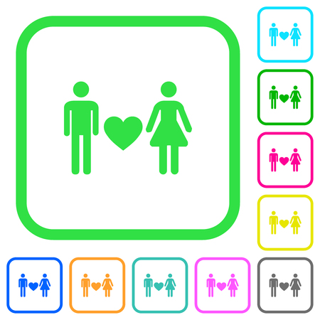 Dating vivid colored flat icons in curved borders on white background