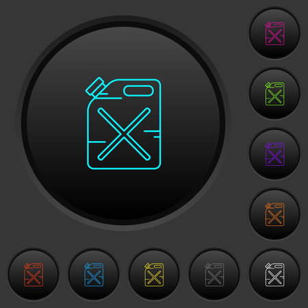 Gas can dark push buttons with vivid color icons on dark grey background