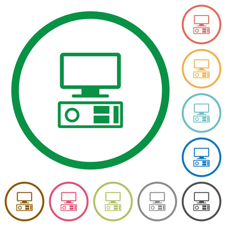Old personal computer flat color icons in round outlines on white background Illustration