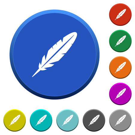 Single feather round color beveled buttons with smooth surfaces and flat white icons Illustration