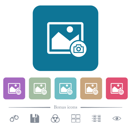 Grab image white flat icons on color rounded square backgrounds. 6 bonus icons included Çizim