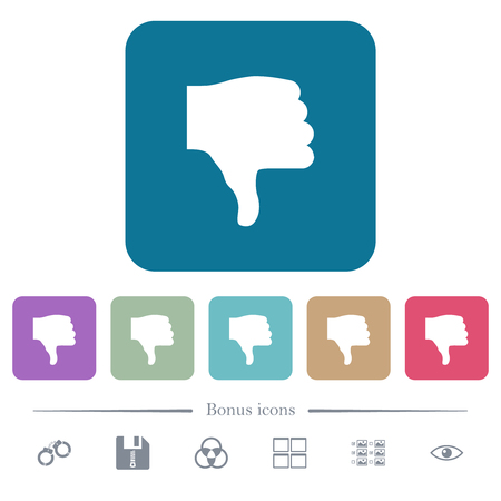 Thumbs down white flat icons on color rounded square backgrounds. 6 bonus icons included Illustration