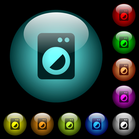 Washing machine icons in color illuminated spherical glass buttons on black background. Can be used to black or dark templates Stock Illustratie