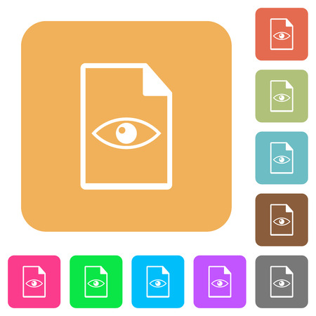 File preview flat icons on rounded square vivid color backgrounds. Vettoriali