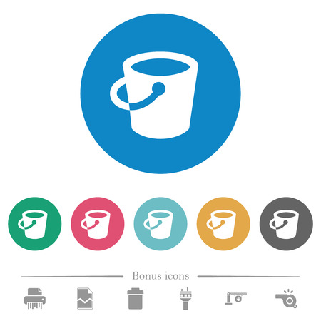 Bucket flat white icons on round color backgrounds. 6 bonus icons included. Ilustración de vector