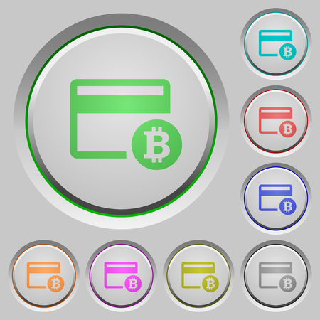 Bitcoin credit card color icons on sunk push buttons