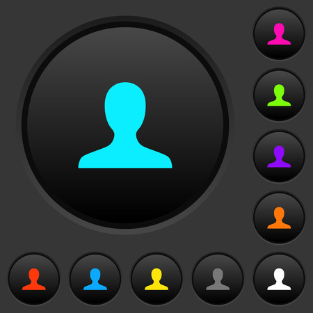 Blank user avatar dark push buttons with vivid color icons on dark grey background Çizim