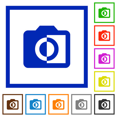Monochrome photos flat color icons in square frames on white background