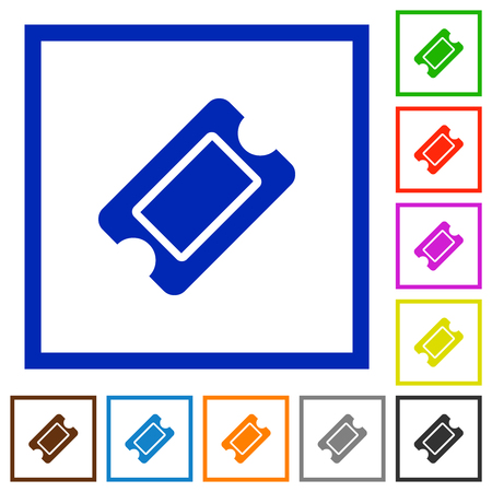 Single ticket flat color icons in square frames on white background