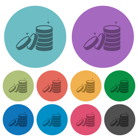 Stack of treasure darker flat icons on color round background Illustration