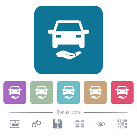 Car insurance white flat icons on color rounded square backgrounds. 6 bonus icons included
