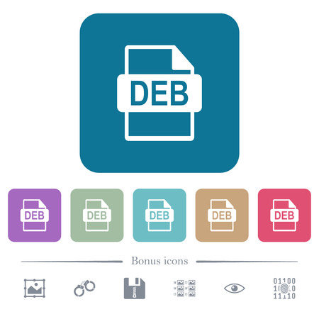 DEB file format white flat icons on color rounded square backgrounds. 6 bonus icons included Stock Illustratie