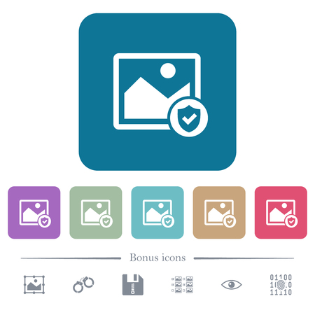 Protected image white flat icons on color rounded square backgrounds. 6 bonus icons included Ilustração
