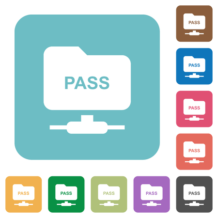 ftp authentication password white flat icons on color rounded square backgrounds