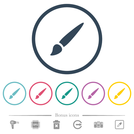 Brush flat color icons in round outlines. 6 bonus icons included.