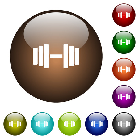 Gym white icons on round color glass buttons