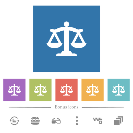 Scale of law flat white icons in square backgrounds. 6 bonus icons included.