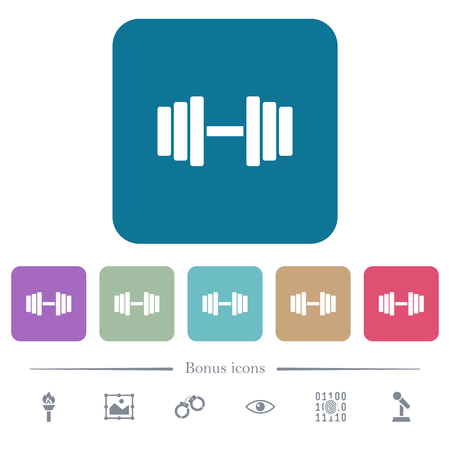 Gym white flat icons on color rounded square backgrounds. 6 bonus icons included Illustration