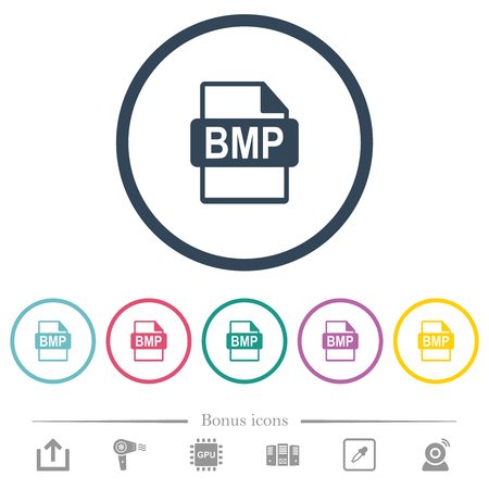 BMP file format flat color icons in round outlines. 6 bonus icons included. Illustration