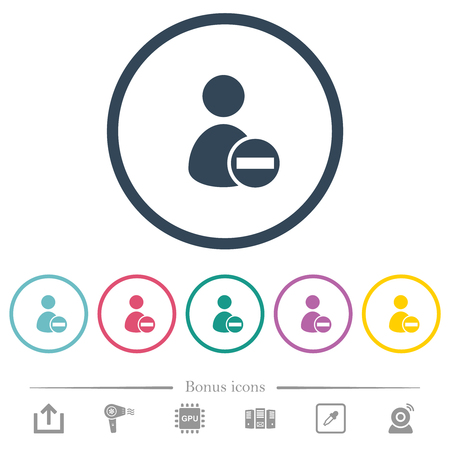Remove user account flat color icons in round outlines. 6 bonus icons included. Illustration