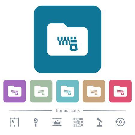 Zipped folder white flat icons on color rounded square backgrounds. 6 bonus icons included Ilustração