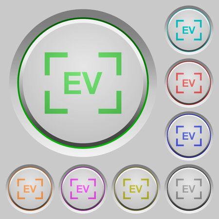 Camera exposure value setting color icons on sunk push buttons Ilustração