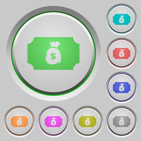 Ticket with dollar bag color icons on sunk push buttons