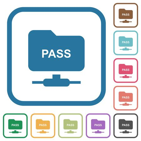 ftp authentication password simple icons in color rounded square frames on white background